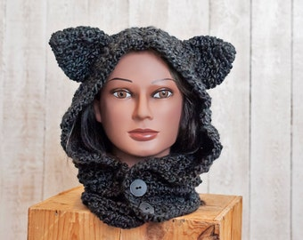 Fuzzy Wolf Cowl and Hat - Hooded Cowl - Wolf Cowl - Wolf Hat - Winter Accessory