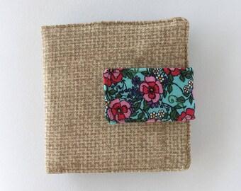 small wallet snap women,floral wallet women,wallet zipper women, linen wallet,card wallet women,fabric bifold wallet women