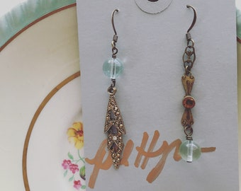 Vintage assemblage earrings with green fluorite beads / OOAK earrings