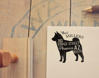 Shiba Inu Return Address Stamp, Housewarming & Dog Lover Gift, Personalized Rubber Stamp, Wood Handle