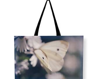 Butterfly Canvas Weekender Bag, Beach BAG, Shoulder Bag, Printed Overnight Bag, Blue Travel Bag, Nature Carry On Bag, Large Canvas Bag