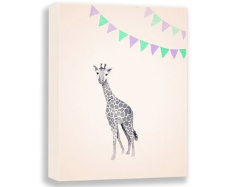Giraffe Canvas - Nursery Art Print - Watercolor Painting - Giraffe Watercolor - Art for Kids - Childrens Art - Giraffe Artwork - G136