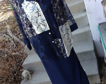Vintage hipster navy floral lace full length dress size 12 perfect for mother of the bride free domestic shipping