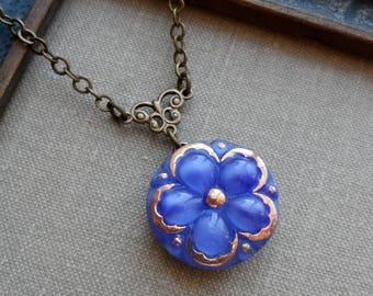 Vintage German Glass Button Necklace. Flower Design, Royal Blue with Gold Trim