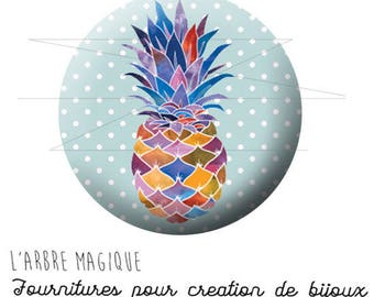 2 cabochons glue pineapple fruit exotic ref 1737 - 16 mm.
