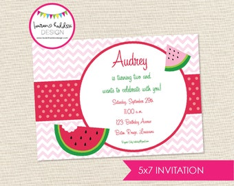 Watermelon Birthday Invitation, Watermelon Birthday, Watermelon Printables, Watermelon Birthday Decorations, Lauren Haddox Designs