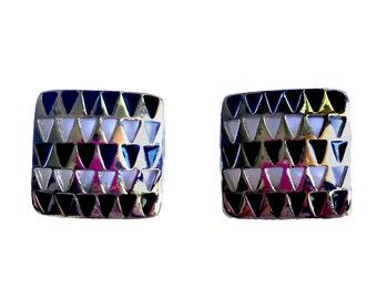 Vintage 1960s Geometric Clip On Earrings Silvertone & Black Enamel Mid Century Mod Jewelry Minimalist Modernist Square Earrings