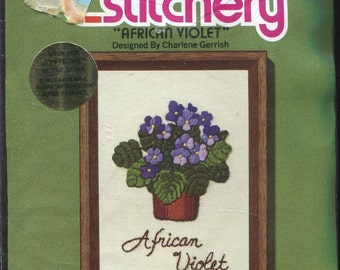 1970s African Violet Jiffy Stitchery Crewel Kit 5x7 by Charlene Gerrish  Sunset Designs 340