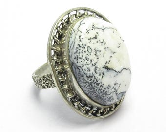 silver plated white gemstone ring