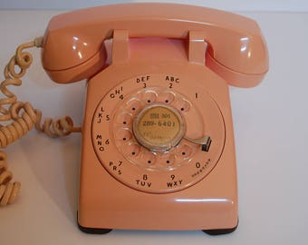 Vintage Pink Rotary Dial Phone, table or desk phone, Western Electric pink table,desk rotary telephone, cleaned, waxed and serviced