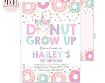 Donut Grow Up Birthday Invitation Unicorn And Donut Birthday Invitation Donut Grow Up 1st Birthday Party Unicorn Donut Stop Believing 6B