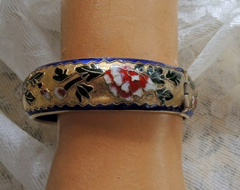 Vintage Cloissone Enamel Bangle Bracelet, Royal Blue And Gold Enamel Bangle