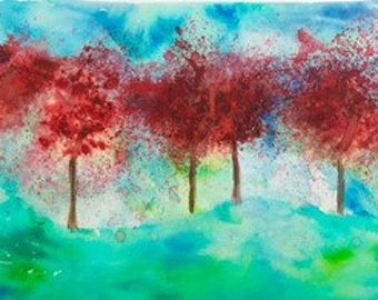 Watercolor Autumn Trees - Original