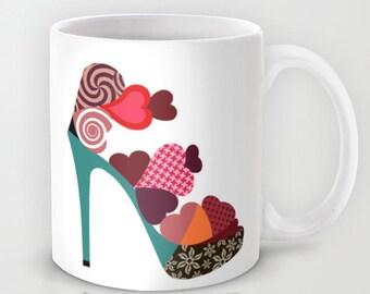Shoe Mug,  Colourfu Love Mug, Shoe Lover Gift, Love Gift, Gift For Her,  Ladies Gift, Valentine Gift, Coffee Lovers Gift