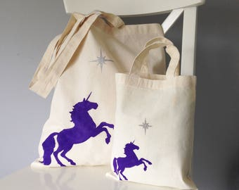 Set of Magical Unicorn reusable cotton tote bags. Small & Large. Matching mummy/mother daughter bags. Unicorn gift. Mother daughter gift set