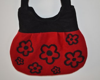Handmade Purse Felted Red Black Flowers Shoulder strap