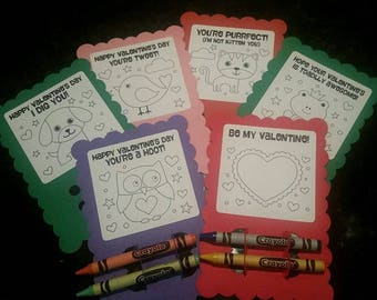 Valentine card with crayons