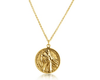 Travelers pendant etsy st christopher protector of travelers medallion pendant necklace 14k gold plated over 925 sterling aloadofball Gallery