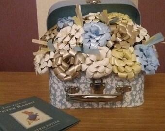 15 x Beatrix potter Peter rabbit paper rose, case christening, baby, new born, baby shower gift display