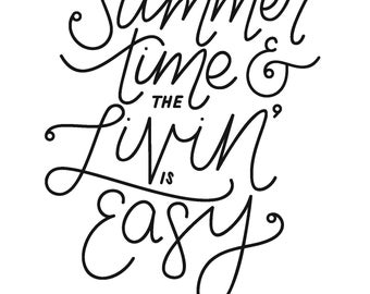 Summertime Livin' Quote Printable Art PDF for download