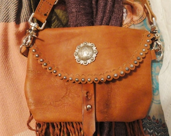 Leather Bag - Elk Tanned Cowhide Hipbag - Bag with Conchos - Ladies Hip Bag - Custom Leather Shoulder Bag