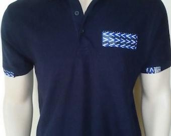 Men Dashiki Polo Navy blue with collar and stripe (white and blue) Black Panther Wakanda Motherdays