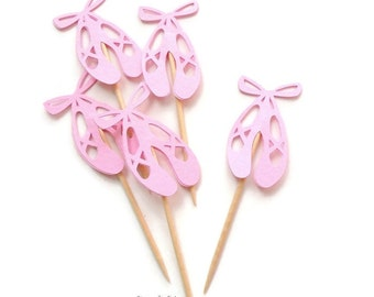 Pink Ballet Shoes Cupcake Toppers, Ballerina Shoes Food Picks-or Choose Your Colors