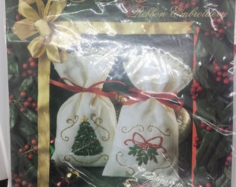 True Colors Ribbon Embroidery-Christmas Tree and Hollly Sachet Set