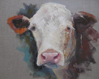 Cow Giclee Print on Canvas, Cow Canvas Print, Cow Oil Portrait, Carol Schiff Print, Free Shipping, Choose Your Size, Ready to Hang, No Frame