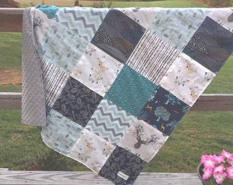 Baby Quilt- Fawn- Woodland Nursery- Baby Blanket- Antler Blanket- Crib Quilt- Woodland Baby