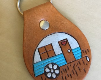 Leather RV Camper Caravan Key Fob Tear Drop Camper Keychain Key Ring Whimsical - Choose your own color