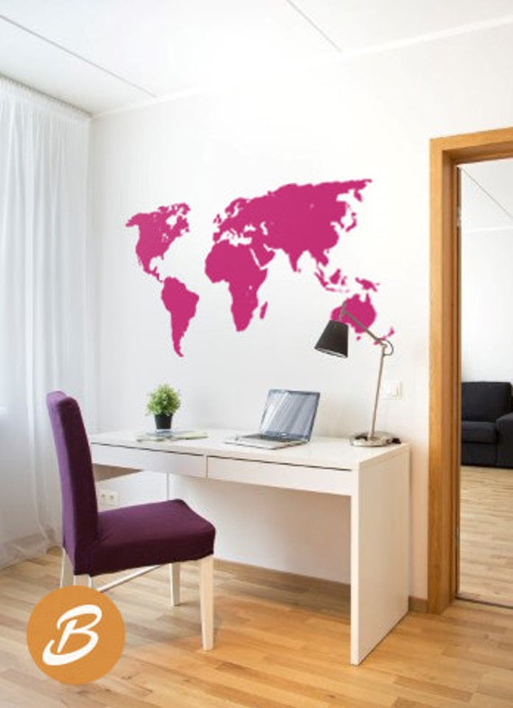 World map decal temporary wall decor office wall decal world world map decal temporary wall decor office wall decal world map wall sticker wall art decor large world map decal ak003 sciox Gallery