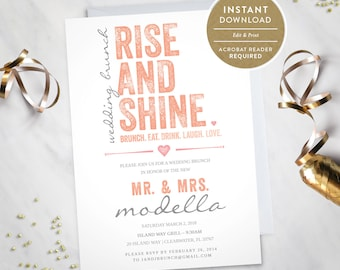 Rise and Shine – Wedding Brunch Invitation (Instant Download) #100