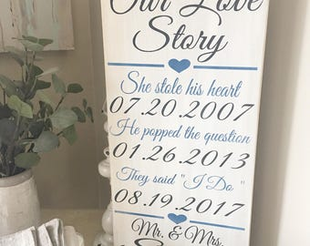 Important dates Our Love Story she stole his heart distressed wood sign important date art wedding shower gift anniversary gift 12x24