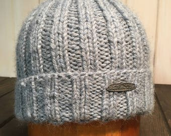 Hand Knit Fisherman Style 100% Baby Alpaca Men's Winter hat, Mens Tuque