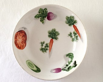 Vintage Ideal Ironstone Vegetable Print White Serving Bowl IDE Bros
