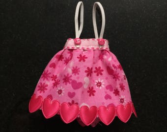 Suspender skirt for Neo Blythe - Pink Flowers and Valentine's Day Hearts