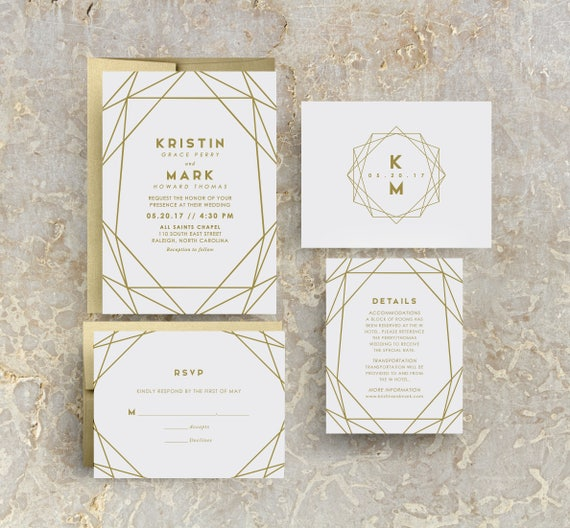 Modern gold wedding invitations gold foil print wedding like this item junglespirit Image collections