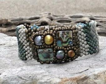 Free Form Peyote Stitch Beaded Bracelet Beaded Cuff - Beaded Cluster Cabochon - Paua Abalone Sea Shell - Bead Weaving -  BOHO
