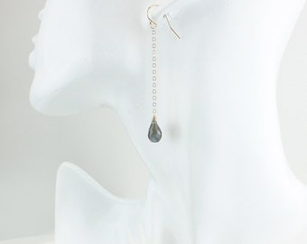Gold Long Blue Labradorite Teardrop Earrings - Minimalist Labradorite Earrings - 14Kt Gold Filled, 925 Silver, Dangling Earrings