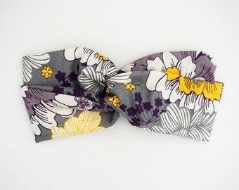 Purple Floral Turban Headband