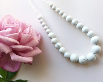 Marble Grey  - 'Pearls' - Geometric Bead Silicone Teething/Sensory Necklace