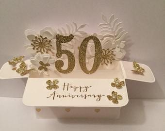 golden wedding anniversary card. Pop up card in a box.