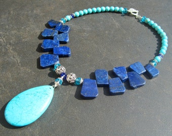 Chunky Statement Necklace, Turquoise Necklace, Lapis Slab Necklace, Big Blue Stone, Turquoise Teardrop, Aqua Crystal, Gift for Her  1200