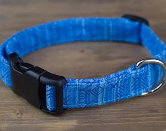 Blue Dog Collar, Blue Geo Dog Collar, Male Dog Collar, Dog Collar, Pet Accessories