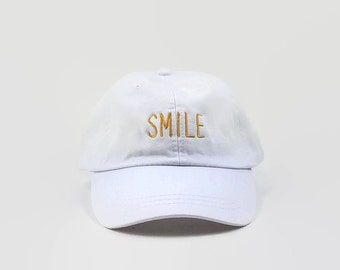 White Baseball Hats, SMILE ,Embroidered Hat, Low Profile Hat, Baseball Cap, Dad Hat, Trending Hat, Dad Cap, Trumblr Hats