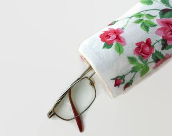 Shabby Roses Upcycled Eyeglass Case Sunglasses Holder