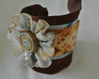 Cuff Bracelet Leather, Textile, Lace, Jewellery