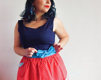 Pin up apron Turquoise and red polka-dots Retro half apron Womens aprons Vintage apron Kitchen decor Spring home decor Gift for mom