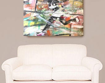 The Tennis Match, African American Art, Tennis Art, Canvas Wall Art,Home Decor Art, Canvas Painting,Abstract Art, Wall Art